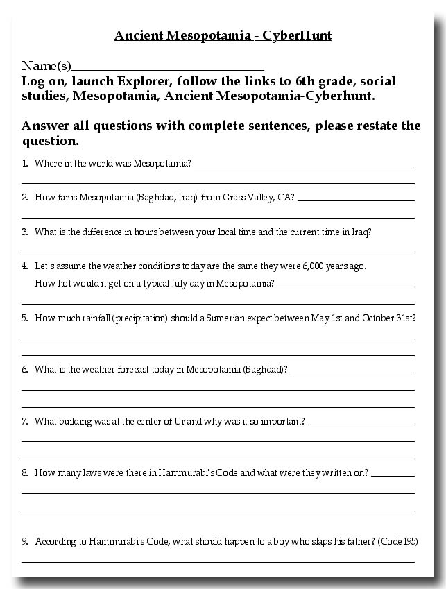 Printables Mesopotamia Worksheets mesopotamia worksheet plustheapp map for 6th grade cyberhunt activity