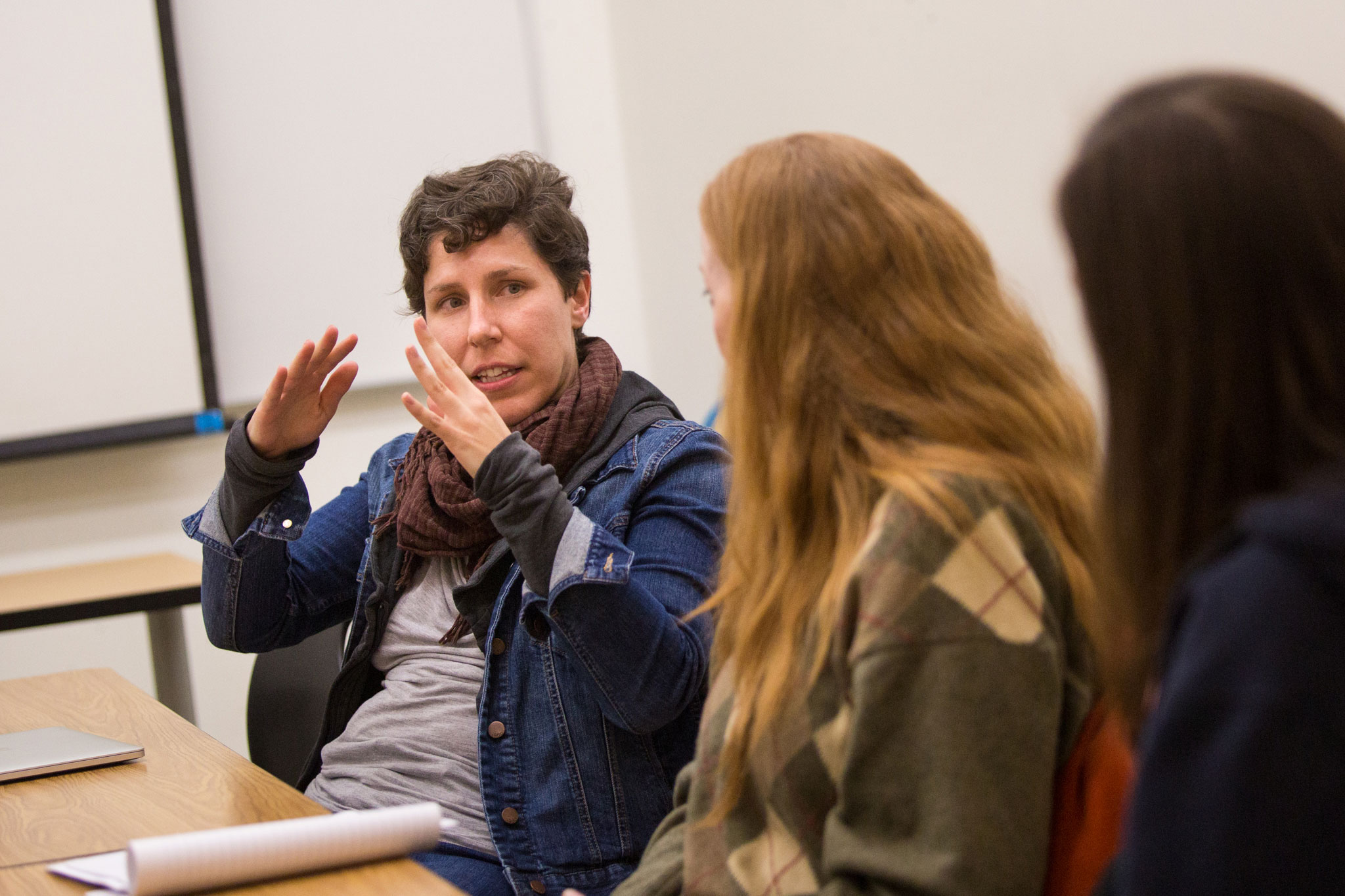 A photo of Lisa Cantrell during one of her storytelling workshops at Sacramento State.