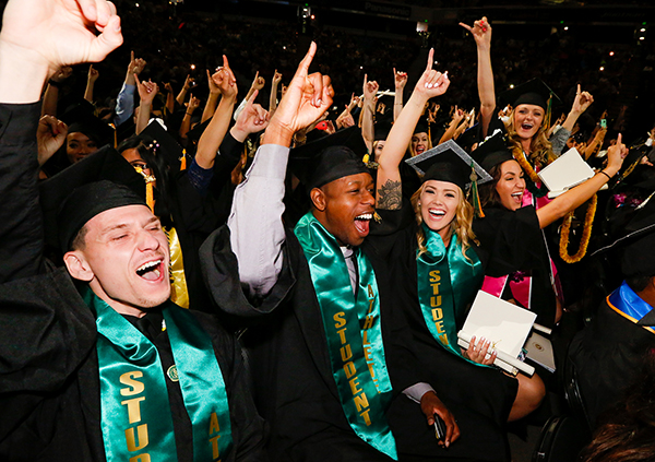 A photo of students at Commencement