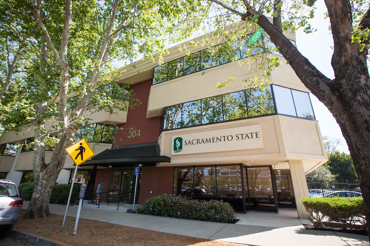 A photo of the Sac State Downtown building