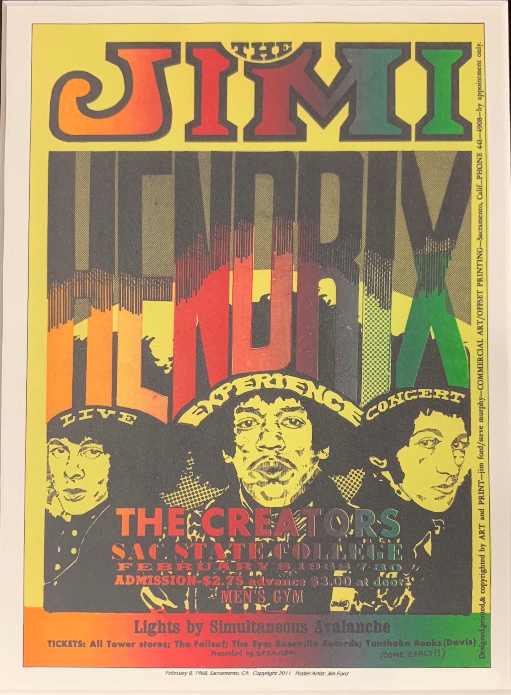 This poster announced a concert by Jimi Hendrix at Sac State in 1968. Cost? $2.75 advance, $3 at the door. (Image courtesy of Dennis Newhall)