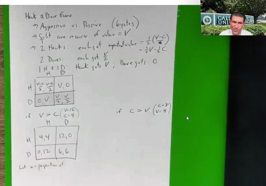 An online class featuring a lesson displayed on screen, with a thumbnail image of the professor