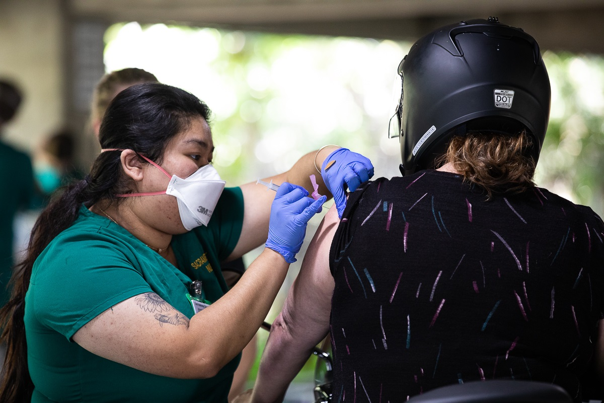 As COVID-19 vaccinations continue at Sacramento State, the California State University system has joined with the University of California to announce that such vaccinations will be required for all students, faculty and staff returning to campus in the fall. (Sacramento State/Andrea Price)