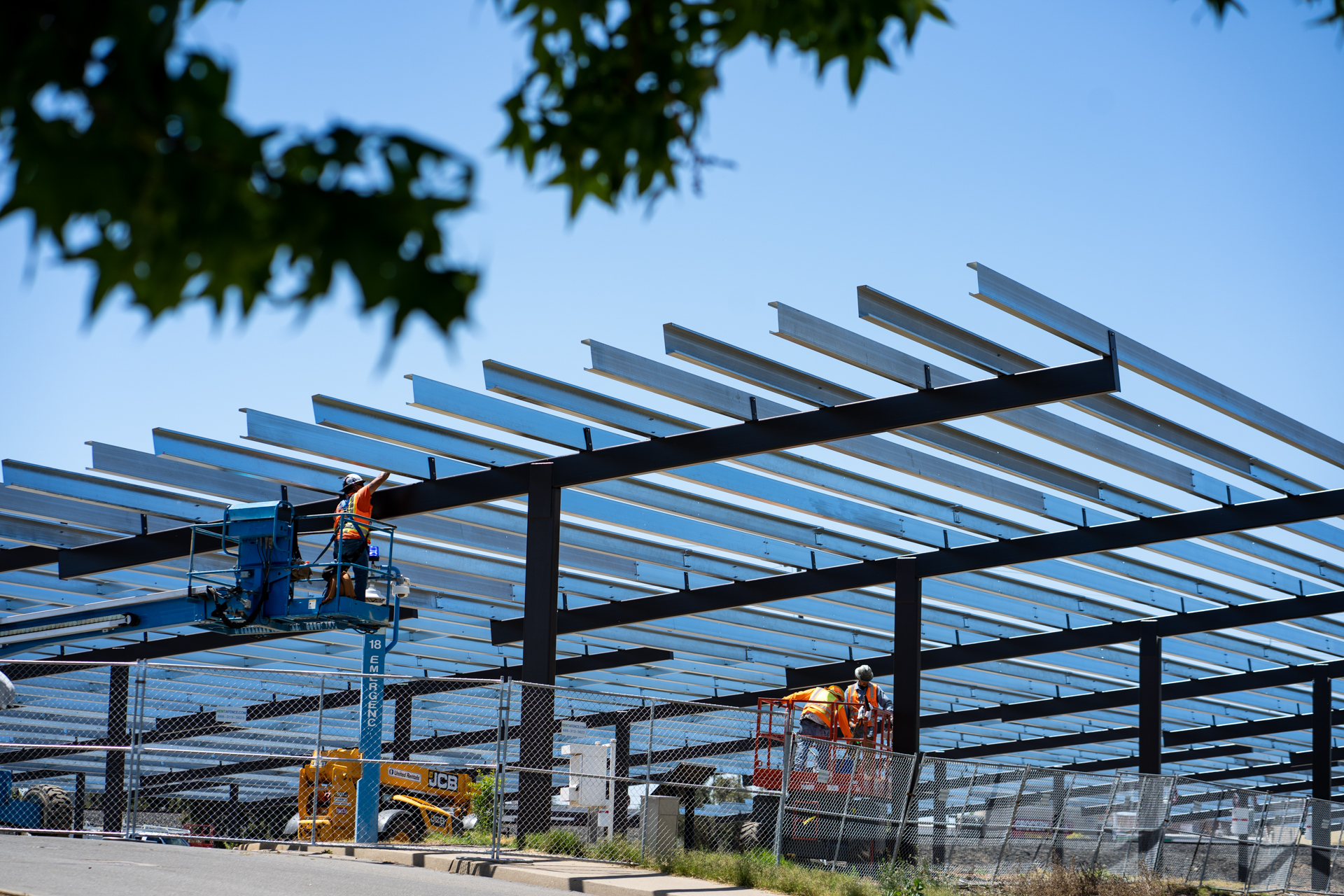 Work continues to complete installation of a solar array at Sacramento State.