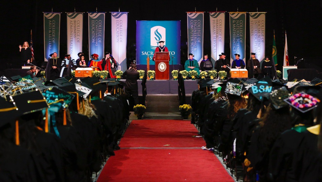 The stage at a Sac State Commencement ceremony